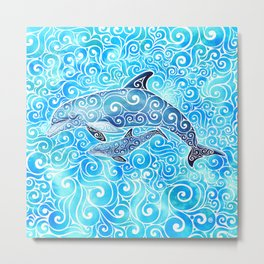Swirly Dolphin Family Metal Print