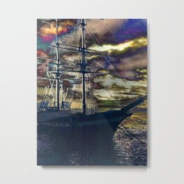 Lahaina Whaling Ship Sunset Metal Print