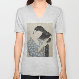 Hashiguchi Goyo: Woman Combing Her Hair Japanese Woodblock Print Blue Floral Kimono Black Hair Unisex V-Neck