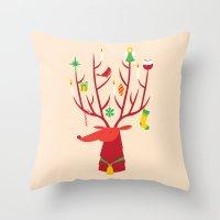 reindeer Throw Pillows featuring Reindeer by Wharton