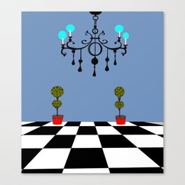 A Chandler with Checkered Tile and Topiaries Canvas Print