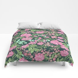 Pink repeating flower pattern Comforters