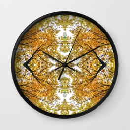 Abstract mirrored autumn nature photography collage in yellow and orange  Wall Clock