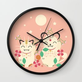Lucky Cats Wall Clock