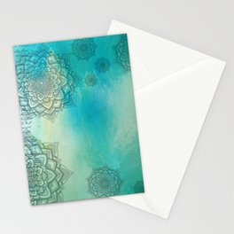 MANDALA COLLAGE ON Aqua Watercolor Stationery Cards