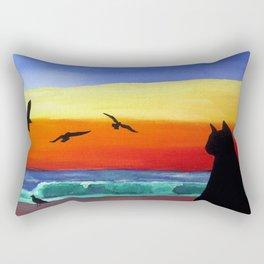Cat on the Beach Rectangular Pillow