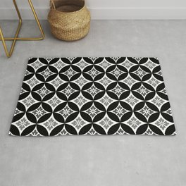 Shippo with Flower Motif, Black, White and Gray Rug