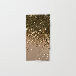 Sparkling Gold Brown Glitter Glam #1 (Faux Glitter) #shiny #decor #art #society6 Hand & Bath Towel