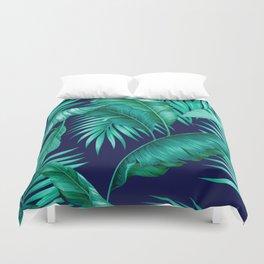 HAWAIIAN GARDEN TROPICAL LEAVES | turquoise navy Duvet Cover