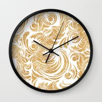 Gold Glitter Leaves Wall Clock