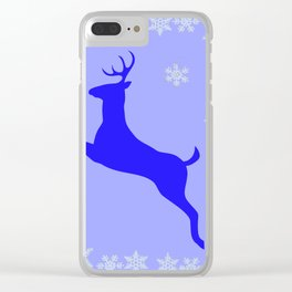 DECORATIVE LEAPING CHRISTMAS  BLUE DEER & SNOWFLAKES Clear iPhone Case