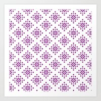 Purple Dots Pattern Art Print