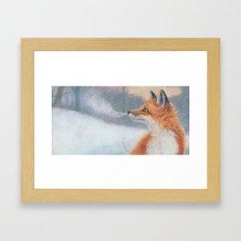 Red Fox Snowflakes Framed Art Print