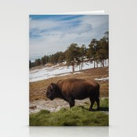 bison Stationery Cards featuring Bison by Mikey Price