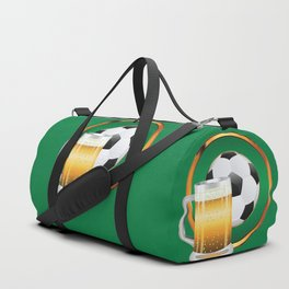 Beer and Soccer Ball in green circle Duffle Bag
