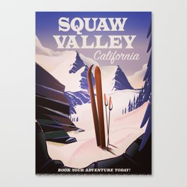 Squaw Valley California Ski poster. Canvas Print