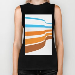 BLUE, ORANGE  AND BROWN LINES  ON A WHITE BACKGROUND Abstract Art Biker Tank