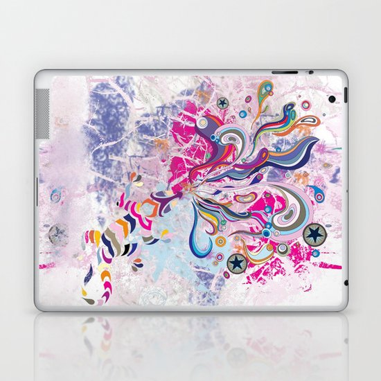 Groovy! Whimsical bright pink, purple chameleon paint splatters Laptop & iPad Skin
