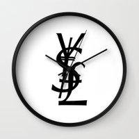 ysl Wall Clocks featuring YSL Yen Dollar GBP by RexLambo
