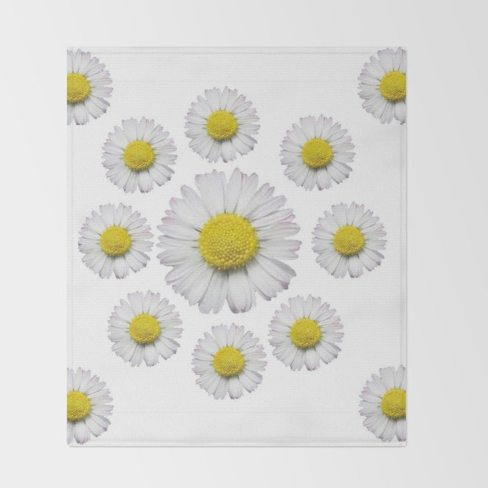 ALL WHITE SHASTA DAISY FLOWERS ART Throw Blanket