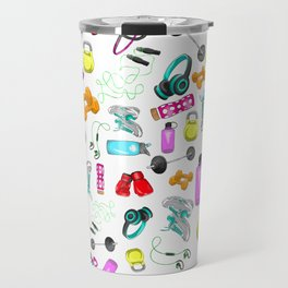 Work Out Items Pattern Travel Mug