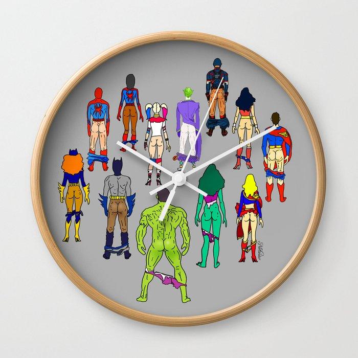 Superhero Butts - Power Couple Wall Clock
