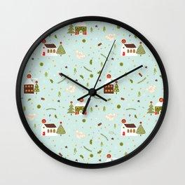 White Christmas Village Church House Wall Clock