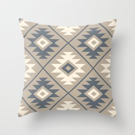 Aztec Symbol Stylized Pattern Blue Cream Sand Throw Pillow