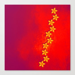 Beautiful yellow flowers and red grunge texture Canvas Print