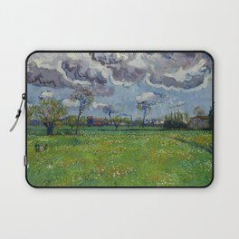 Meadow With Flowers Under a Stormy Sky Laptop Sleeve