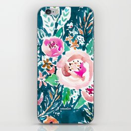 PLENITUDE FLORAL Navy Peach Watercolor iPhone Skin