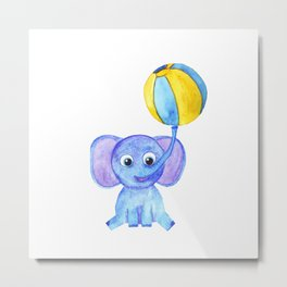 cute blue elephant with ball Metal Print