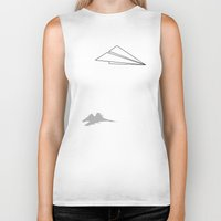 airplanes Biker Tanks featuring Paper Airplane Dreams by Mobii