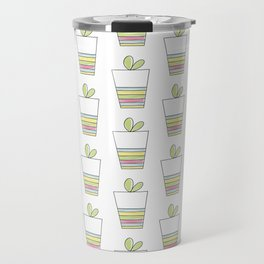 Lovely Plant and Striped Pot Travel Mug