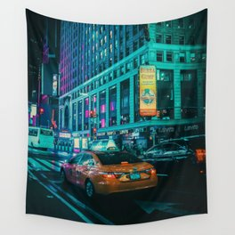 Taxi in the City (Color) Wall Tapestry