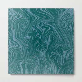 Blue-green abstract marble pattern Metal Print