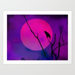 The Crow And The Pink Moon Art Print