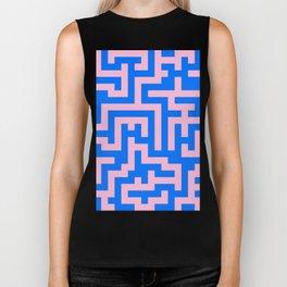 Cotton Candy Pink and Brandeis Blue Labyrinth Biker Tank