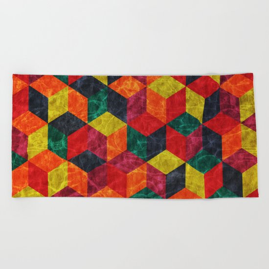 Colorful Isometric Cubes IV Beach Towel