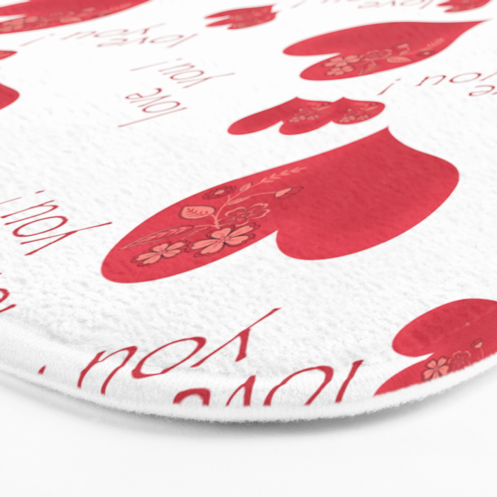Abstract pattern with red hearts on a white background Bath Mat