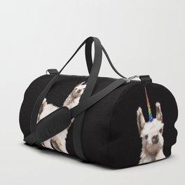 Unicorn Baby Llama in Black Duffle Bag