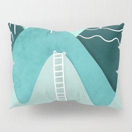 Modern turquoise abstract mountains watercolor cut out climb illustration Pillow Sham