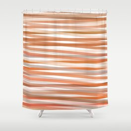 Fall Orange brown Neutral stripes Minimalist Shower Curtain