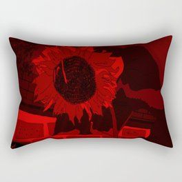 Thee Sunflower in Red by Mgyver Rectangular Pillow