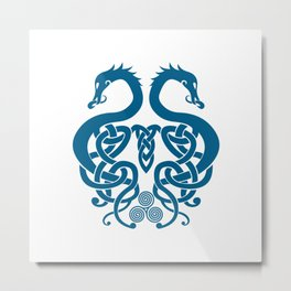 Merged Norse Dragons Metal Print