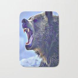 Angry Brown Bear Bath Mat