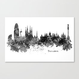 Barcelona Black and White Watercolor Skyline Canvas Print