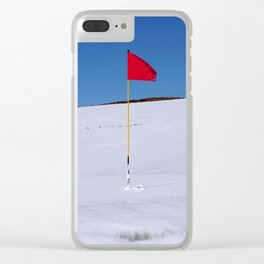 Red flag on Stromness golf course on a snowy April day. Clear iPhone Case