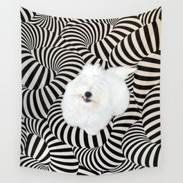 Cheshire Coton - grin trippy psychedelic puppy  in wonderland Wall Tapestry