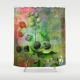 Blackberry Music, Vintage Botanical Illustration Collage Art Shower Curtain